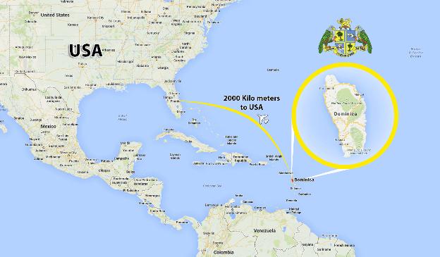 موقعیت کشور دومینیکا روی نقشه