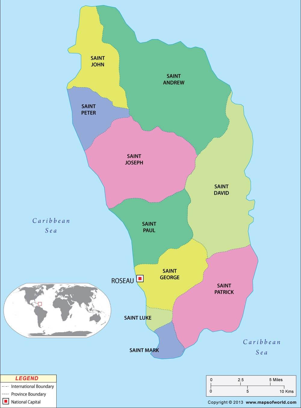 نقشه دومینیکا