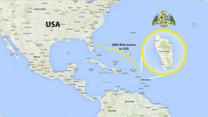 دومینیکا روی نقشه